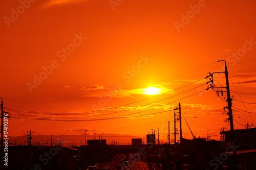 Papiers peints Orange eclat 秋の夕焼け風景