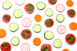 mix of sliced cucumber with sliced carrot and tomato isolated on a white background top view - 174193499