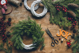 Christmas wreath with scissors - 174193666