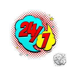 Open 24/7 Hours Yellow and Blue Comic Speech Bubble. Dynamic cartoon symbol isolated on white background. Vector Illustration in Pop Art Style.