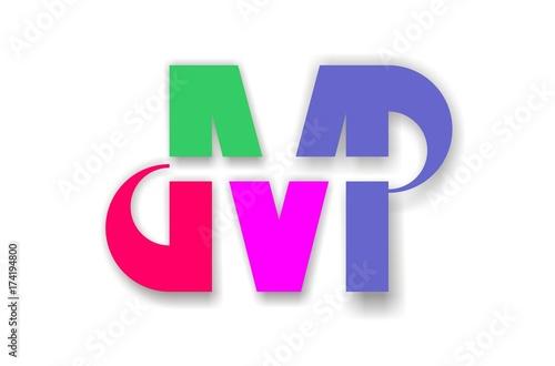 letter m,p,v logo
