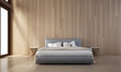 The bedroom interior and wood wall texture design / new 3D rendering model new scene