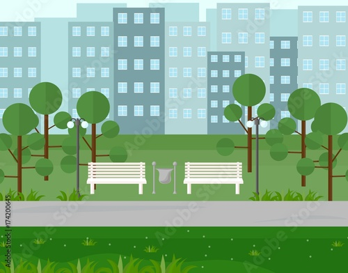Foto op Canvas Groene City Park view in summer seasons. Vector background