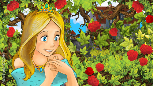 Cartoon scene of beautiful princess in the garden - castle in the background - illustration for children - 174200864