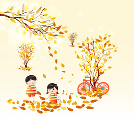 Hello autumn funny kids of a forest in autumn with leaves falling