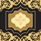 Vector ornate gold border.  Vintage  luxury greeting card. Template for design. - 174205282