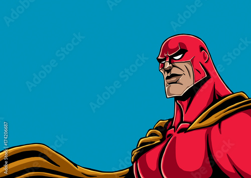 Superhero Portrait Red / Portrait of superhero in red costume and yellow cape.  - 174206687