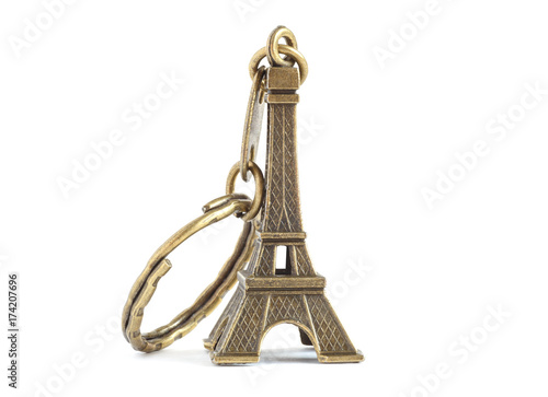 Foto op Plexiglas Eiffeltoren keychain Eiffel tower isolated on white