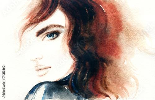 Fashion illustration. Beautiful woman face