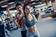 Leinwanddruck Bild - Couple in gym