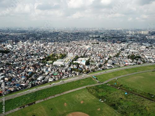 空撮した東京の下町 Poster