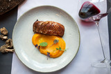 duck breast fillet with mashed potatoes spicy pumpkin - 174227294