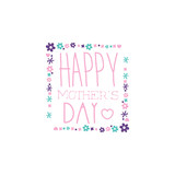 Happy Mothers Day logo template, label with flowers, colorful hand drawn vector Illustration