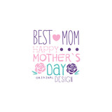 Happy Mothers Day logo original design, Best Mom label with flowers, colorful hand drawn vector Illustration