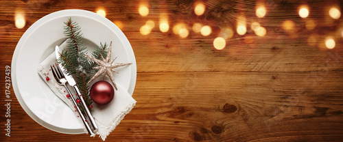 Rustic christmas table decoration