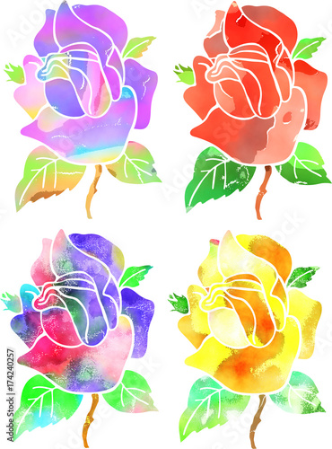 Digitally created watercolour style roses.