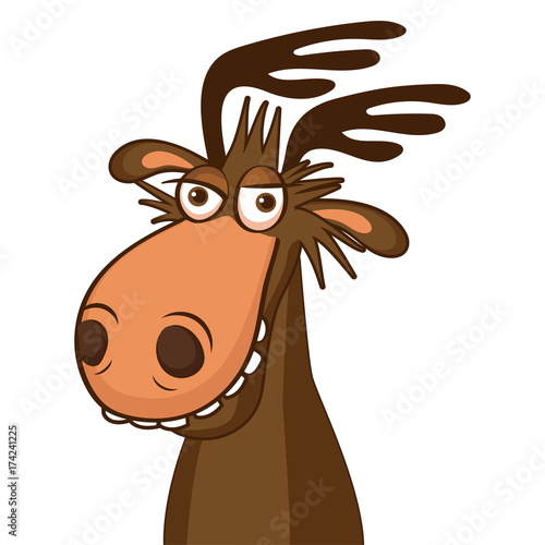 Fotobehang Hipster Hert Moose Face Picture. Cartoon Smile Deer Vector. Image On White Background. Moose On The Loose.