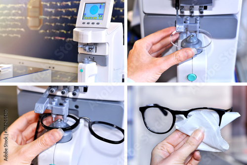 Collage image of the glasses manufacturing process.Health care, medicine and vision concept.Ophthalmology instrument in clinic office and optics.Optician measuring and preparing glasses