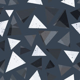 Gray triangle seamless pattern with grunge effect