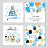 Happy Birthday cards set in blue and golden colors. Celebration vector illustrations with birthday cake, balloons and gifts.