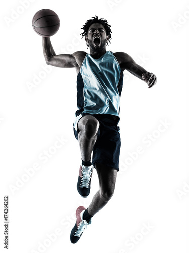 Fotobehang Basketbal one afro-american african basketball player man isolated in silhouette shadow on white background