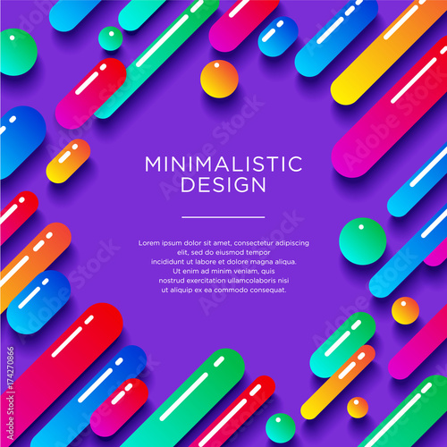 Abstract flat illustration. Minimalistic design. Multicolored glossy shapes with shadows on a violet background. - 174270866