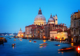 Basilica Santa Maria della Salute at night, Venice, Italy, retro toned