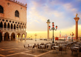 famouse Doge palace and San Marco square at sunrise, Venice, Italy, retro toned