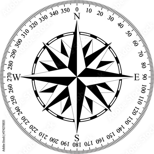 Compass with wind rose and degrees in black and white