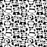 Seamless pattern with image of a pandas. Vector illustration.