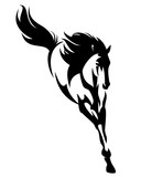 beautiful jumping horse black and white vector design