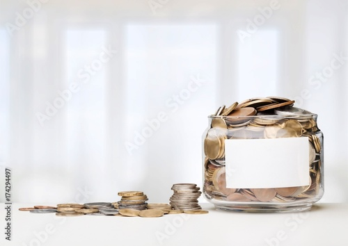 Bottle and coin.