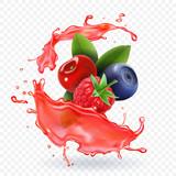 Forest Mixed berries juice Splash. 3d realistic vector - 174302464