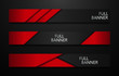 Vector full banners set. Black and red metal background.