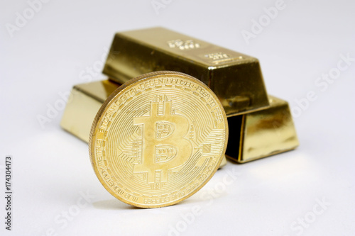 Poster Bitcoin mit Goldbarren