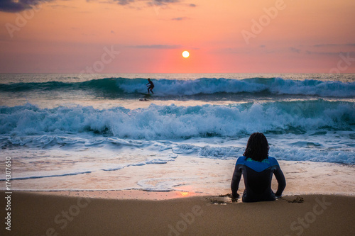 Fotobehang Strand French sunset surf