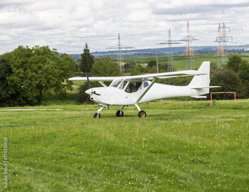 Beautiful small private aircraft with propeller