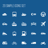 Set Of 20 Editable Transport Icons. Includes Symbols Such As Lorry, Fuel, Delivery And More. Can Be Used For Web, Mobile, UI And Infographic Design.