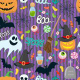 halloween kids vector pattern
