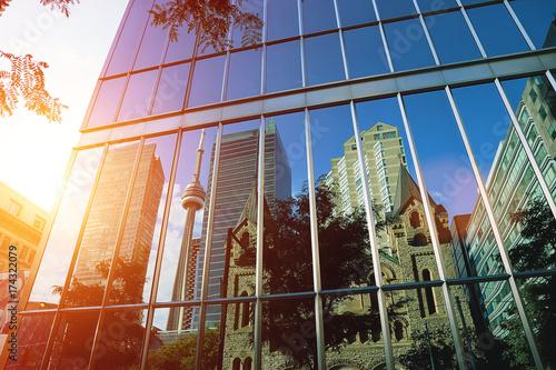 In de dag Toronto Toronto downtown buildings at sunset