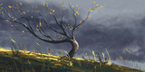 Autumn tree in storm, digital fantasy painting