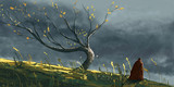 Autumn tree in storm with men in coat, digital fantasy painting