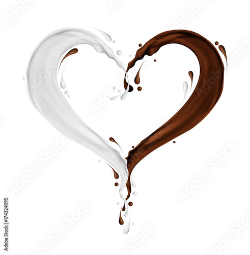 Splashes of milk and chocolate in the shape of heart on white background
