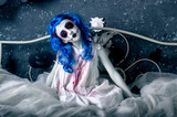 Little blue hair girl in bloody dress with scary halloween makeup - 174324836