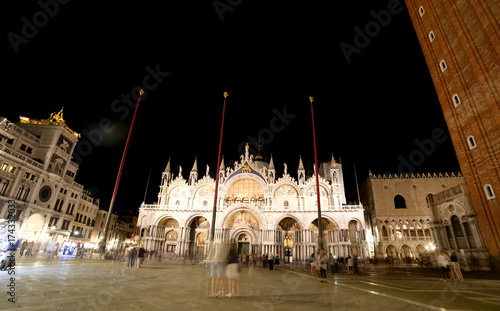 VENICE Italy Saint Mark s Basilica and the Campanile by night