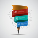 Template with pencil ribbon. Infographics vector illustration - 174338407