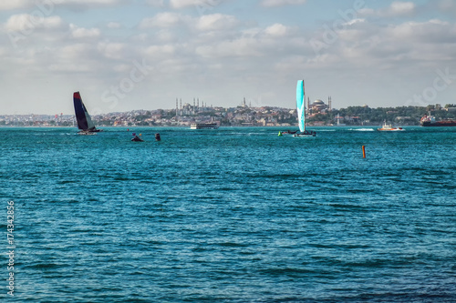View on the Bosphorus with yahts regatta in the sea Istanbul seafront Poster