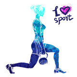 Bright watercolor silhouette of a girl is training with weight. Vector sport illustration. Graphic figure of the athlete. Active people. Recreation lifestyle. I love sport. - 174360278