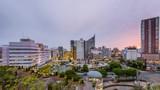 Hamamatsu, Shizuoka, Japan downtown cityscape time lapse from dusk to night. - 174366416