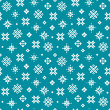 Cute vector winter holiday pattern with pixel snowflakes on teal green background. Seamless pattern for greeting cards, textiles, gift wrapping paper, wallpapers.